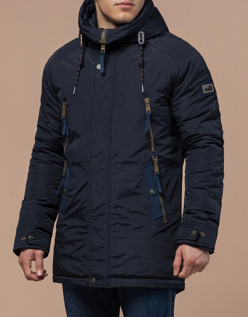 Парка темно-синяя зимняя мужская модель 3587 оптом фото 1