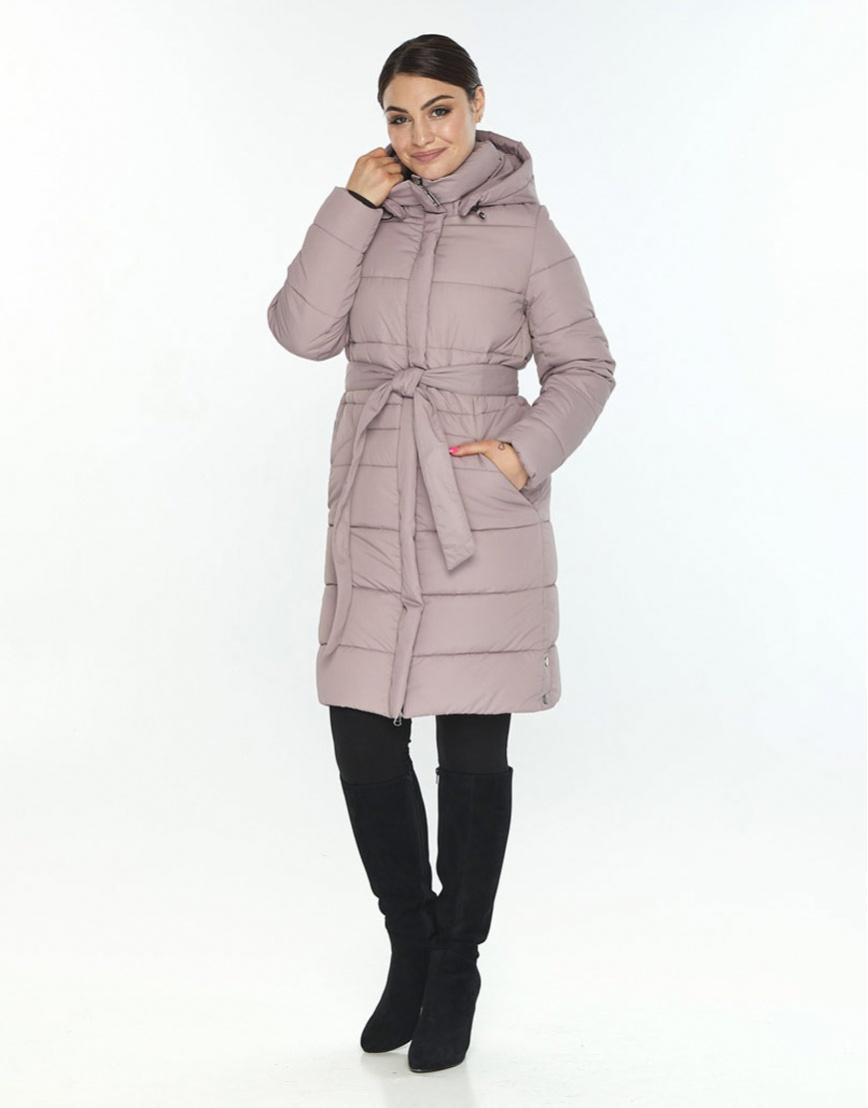 Люксовая куртка большого размера пудровая женская Wild Club 584-52 фото 1