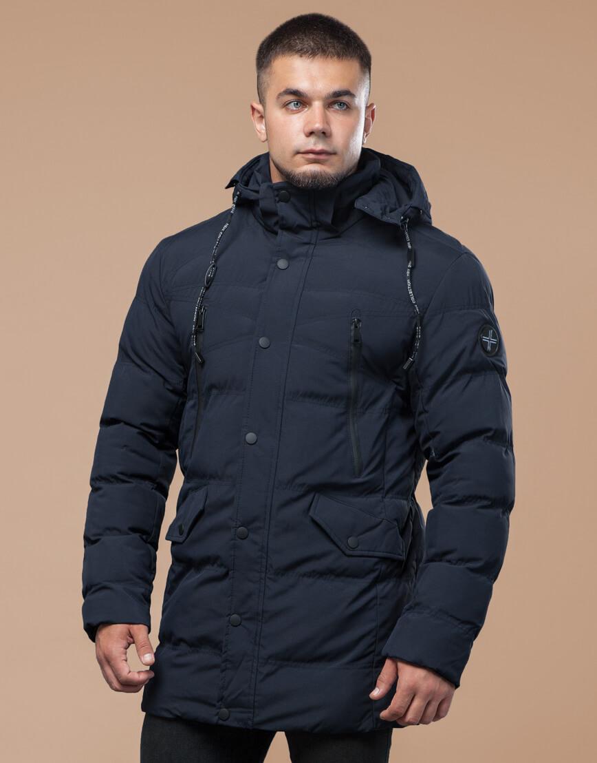 Синяя куртка зимняя трендового дизайна модель 25320