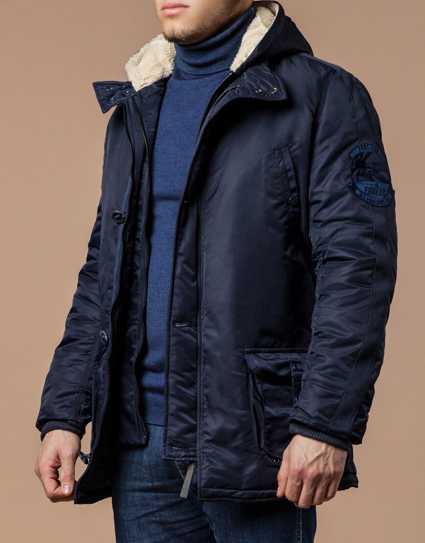 Парка мужская зимняя темно-синяя модель 34568 оптом фото 2