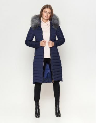 Женская современная темно-синяя куртка модель 6615 фото 1