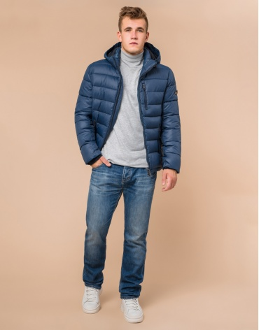 Зимняя синяя мужская куртка модель 36450 оптом