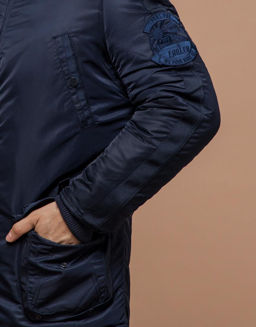 Парка мужская зимняя темно-синяя модель 34568 оптом фото 5