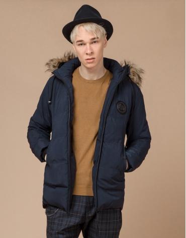 Зимняя синяя подростковая куртка качественного пошива модель 25550 оптом