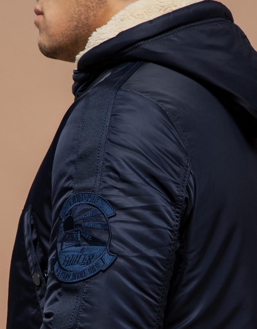 Парка мужская зимняя темно-синяя модель 34568 оптом фото 6