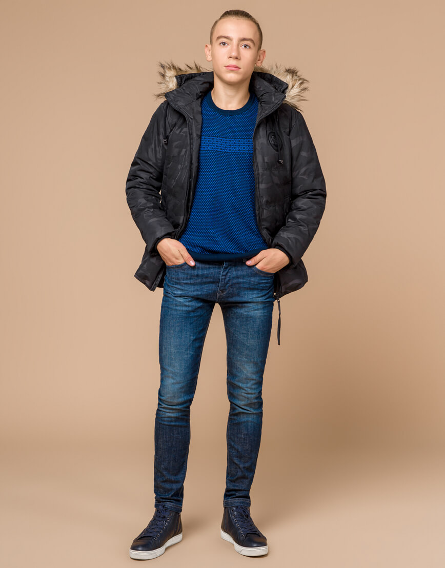 Дизайнерская куртка подростковая черного цвета модель 25310 оптом