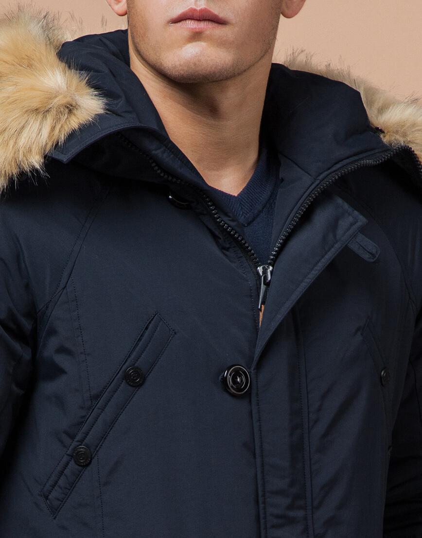 Темно-синяя парка на зиму для мужчин модель 3986 оптом фото 4