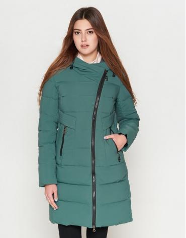 Куртка трендовая женская молодежная зеленого цвета модель 25035