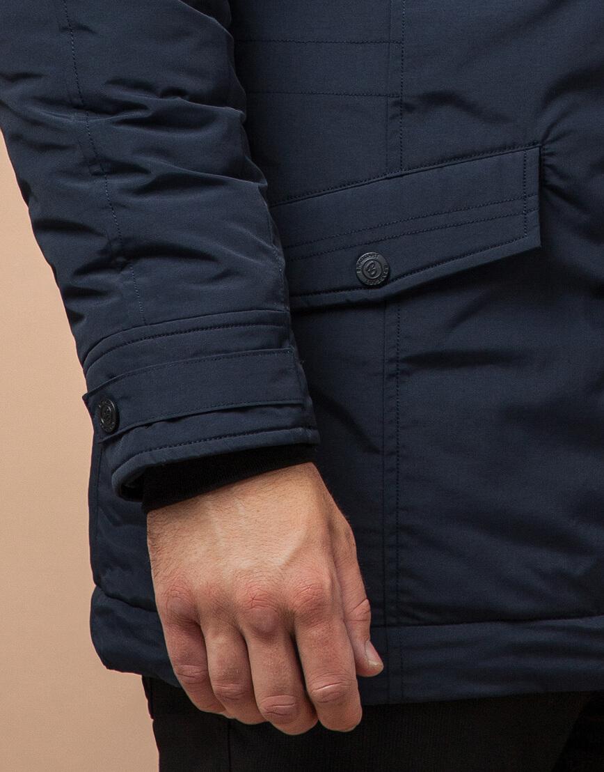 Темно-синяя парка на зиму для мужчин модель 3986 оптом фото 5