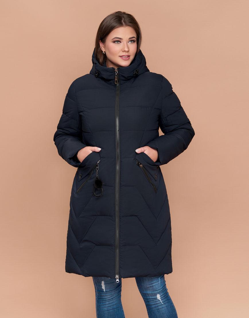 Зимняя высококачественная женская темно-синяя куртка большого размера модель 25525