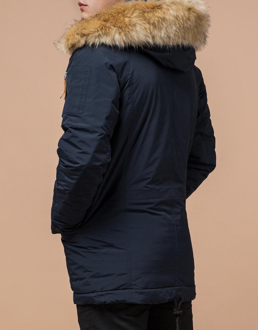 Темно-синяя парка на зиму для мужчин модель 3986 оптом фото 3