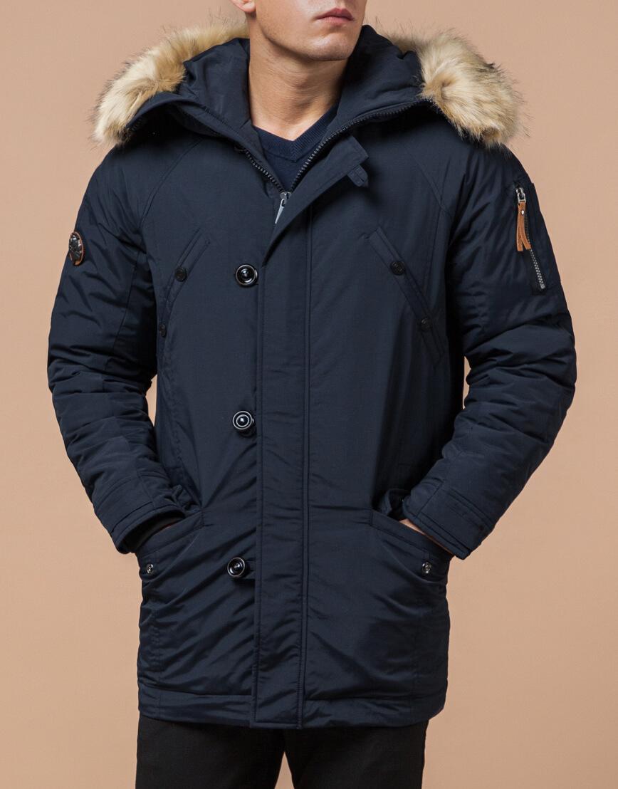 Темно-синяя парка на зиму для мужчин модель 3986 оптом фото 1
