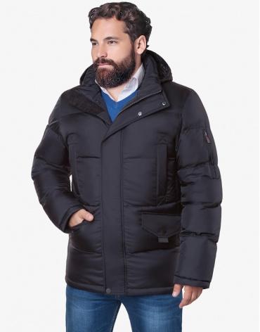 Теплая куртка черного цвета большого размера модель 3284 фото 1