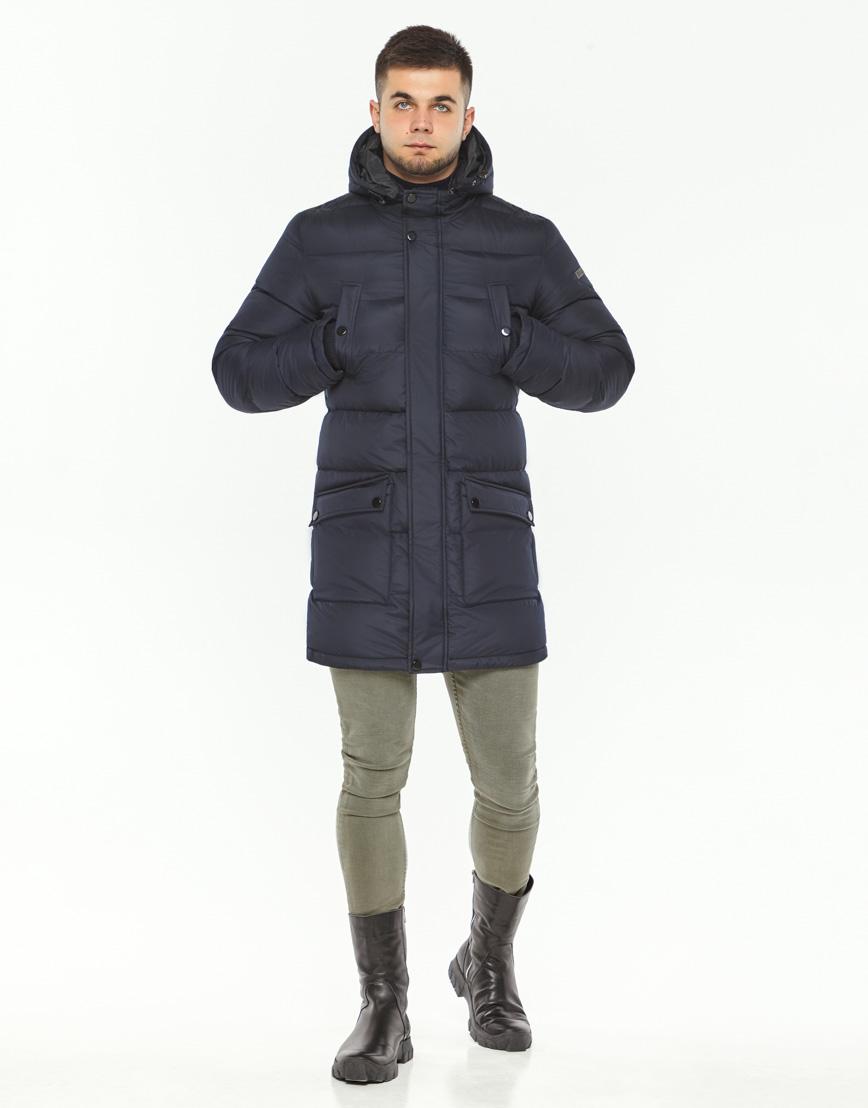 Мужская куртка зимняя темно-синяя модель 32045 оптом фото 4