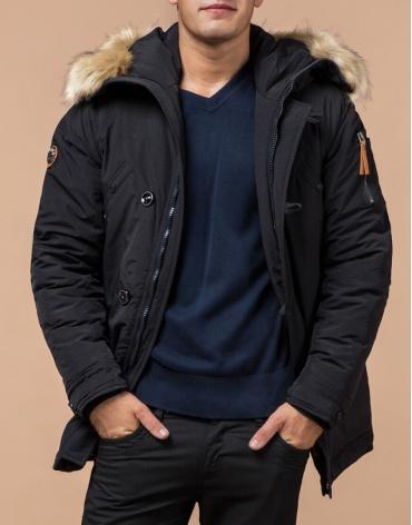 Зимняя черная мужская парка модель 3986 оптом