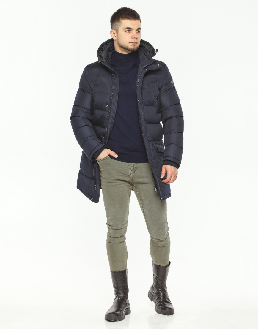 Мужская куртка зимняя темно-синяя модель 32045 оптом фото 3