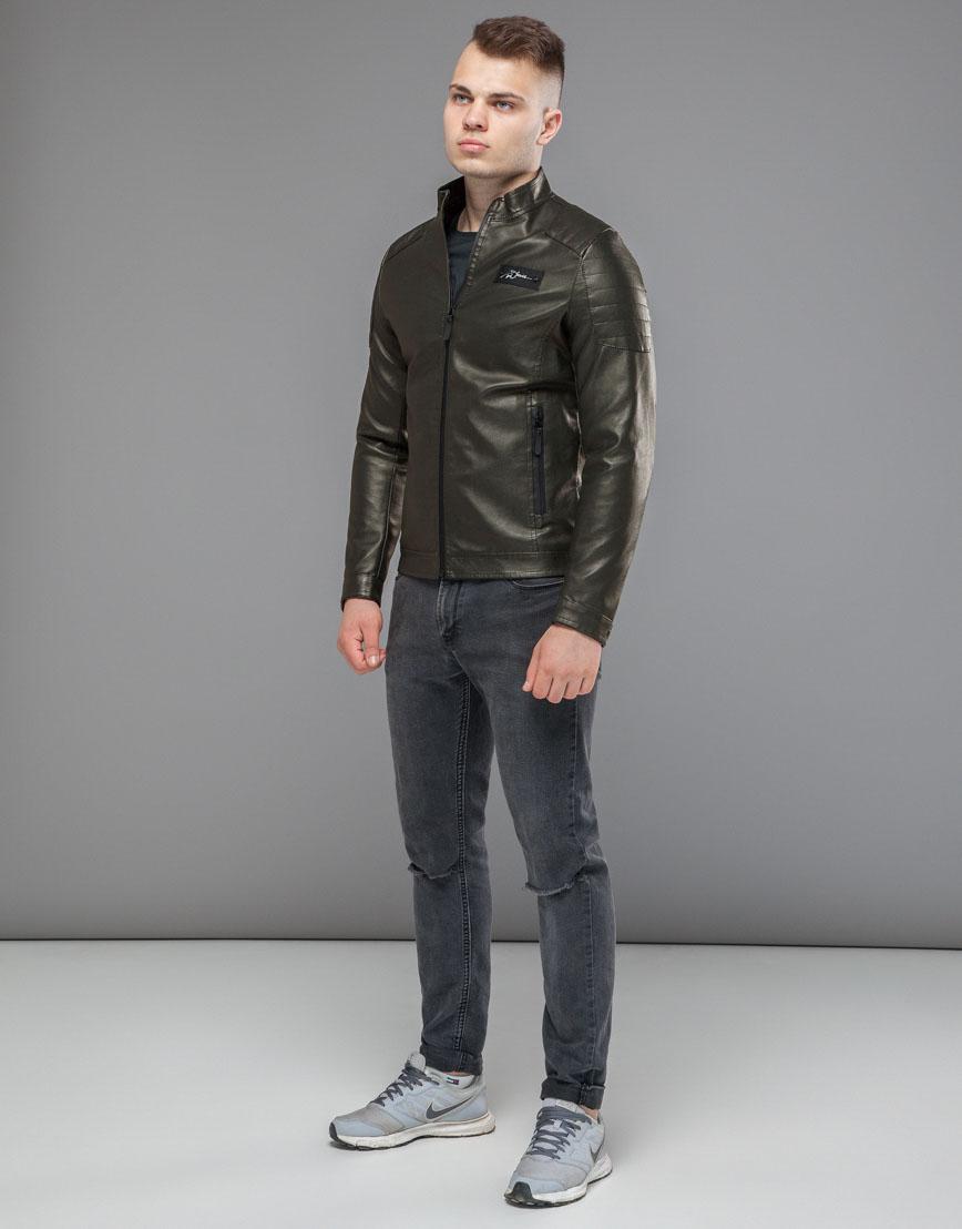 Демисезонная куртка хаки модель 36361 оптом фото 2