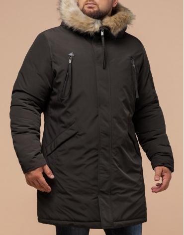 Коричневая парка для мужчин зимняя модель 13475 оптом