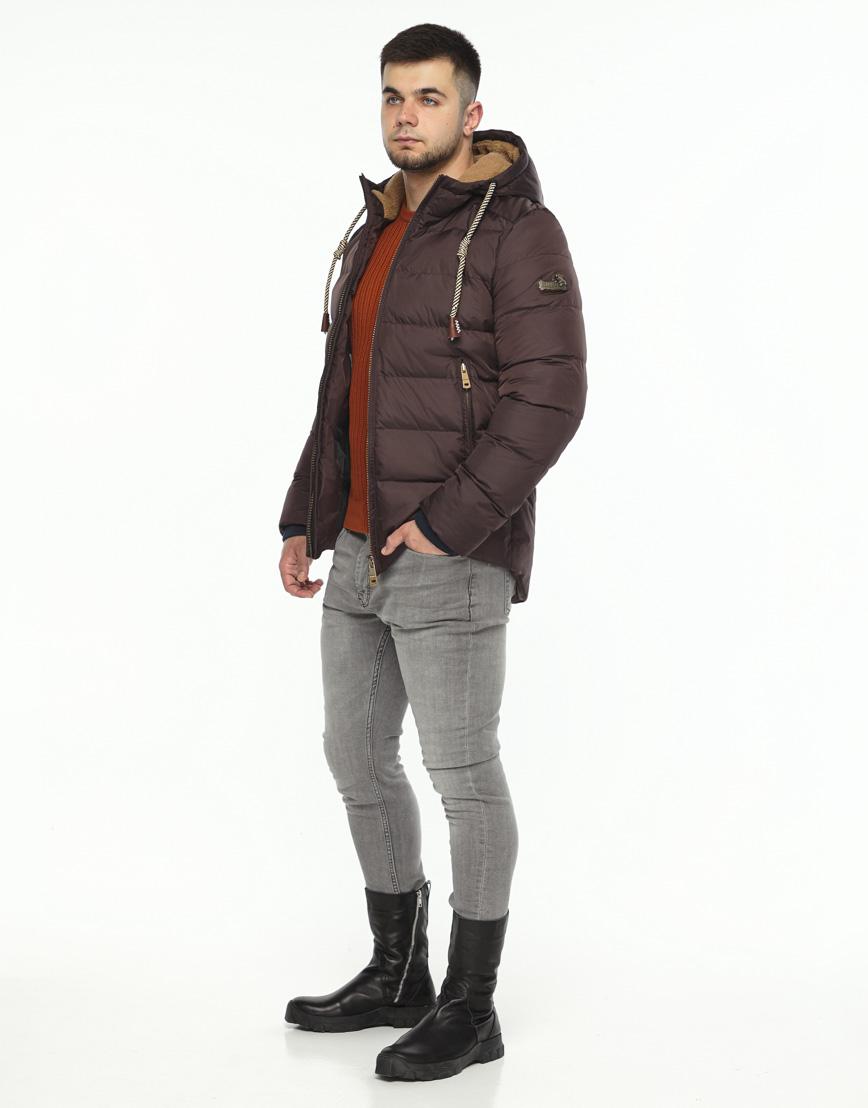 Куртка мужская зимняя цвета кофе модель 35048 оптом
