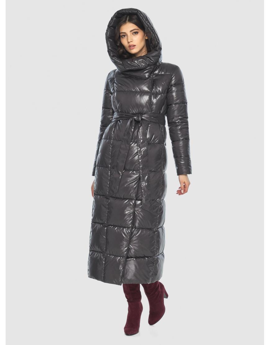 Серая трендовая женская куртка подростковая Vivacana зимняя 8706/21 фото 5