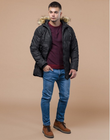 Зимняя куртка дизайнерская фирменная черная модель 25350