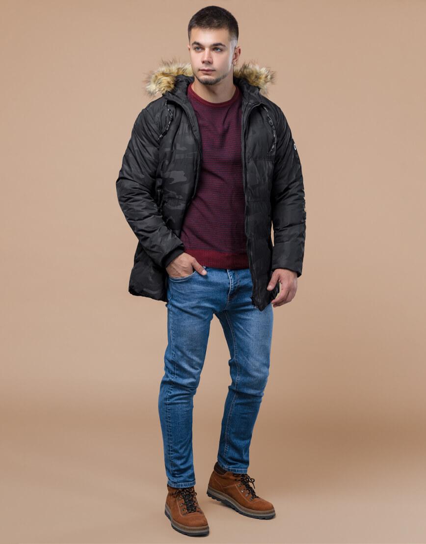 Зимняя куртка дизайнерская фирменная черная модель 25350 фото 1