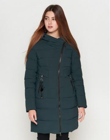 Темно-зеленая молодежная куртка женская модель 25325