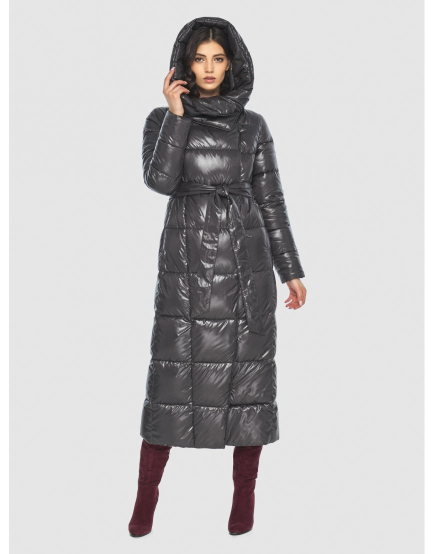 Серая трендовая женская куртка подростковая Vivacana зимняя 8706/21 фото 1