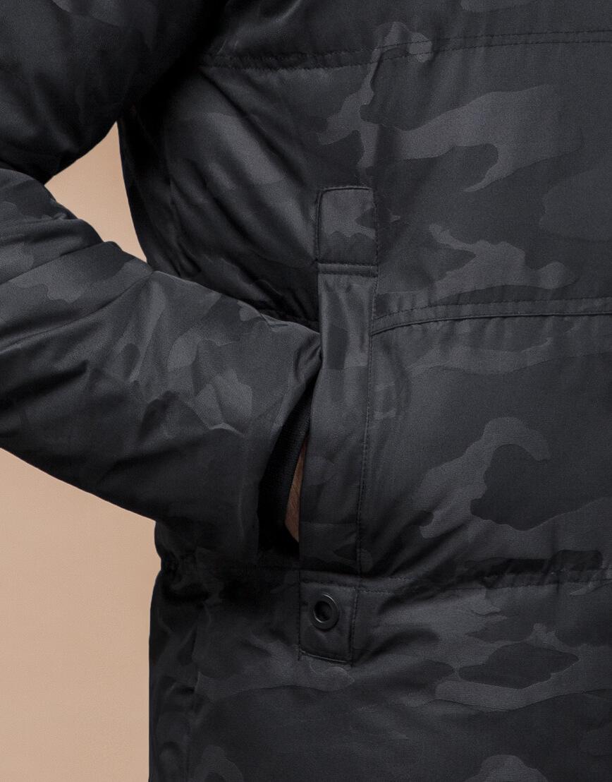 Зимняя куртка дизайнерская фирменная черная модель 25350 фото 6