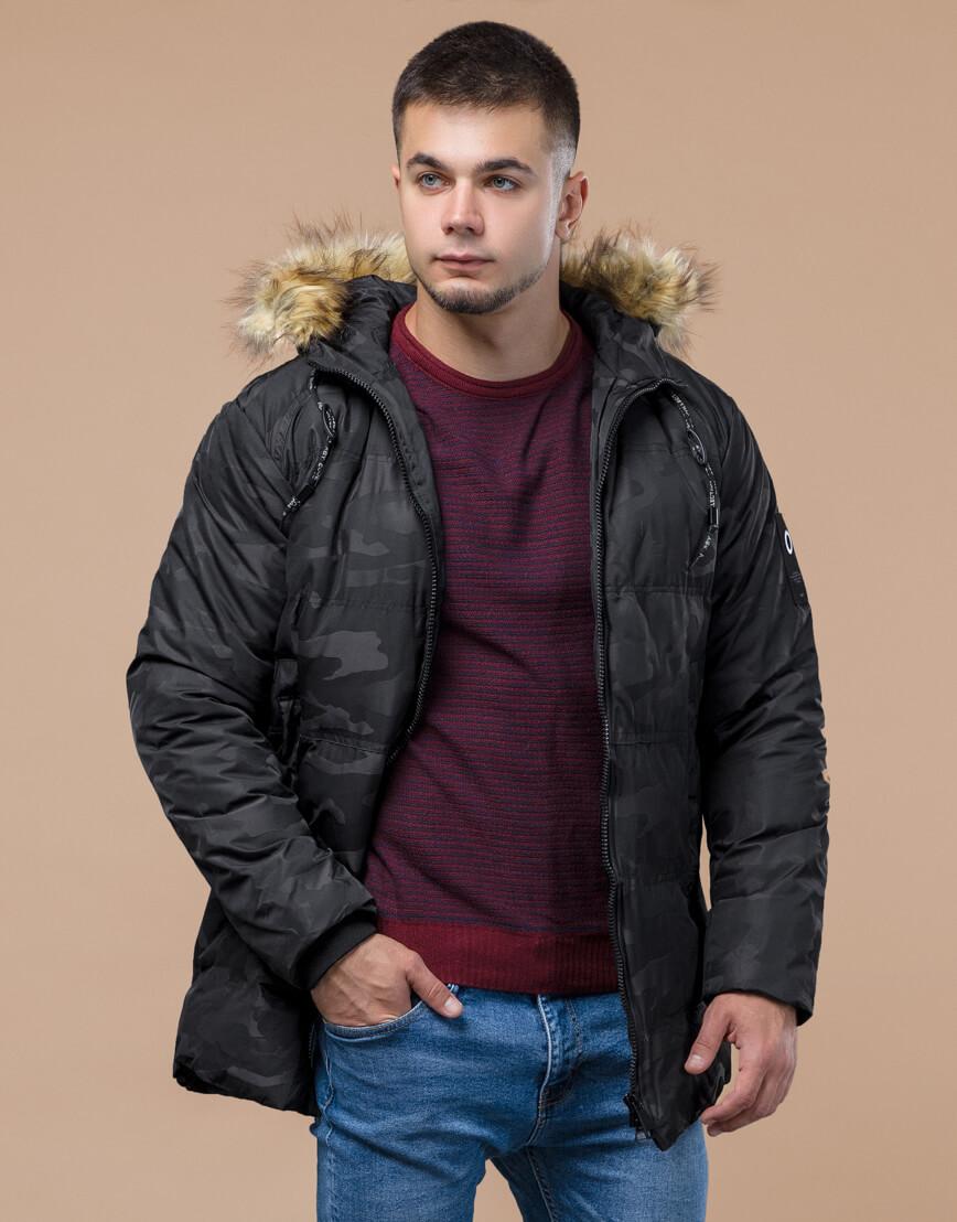 Зимняя куртка дизайнерская фирменная черная модель 25350 фото 3