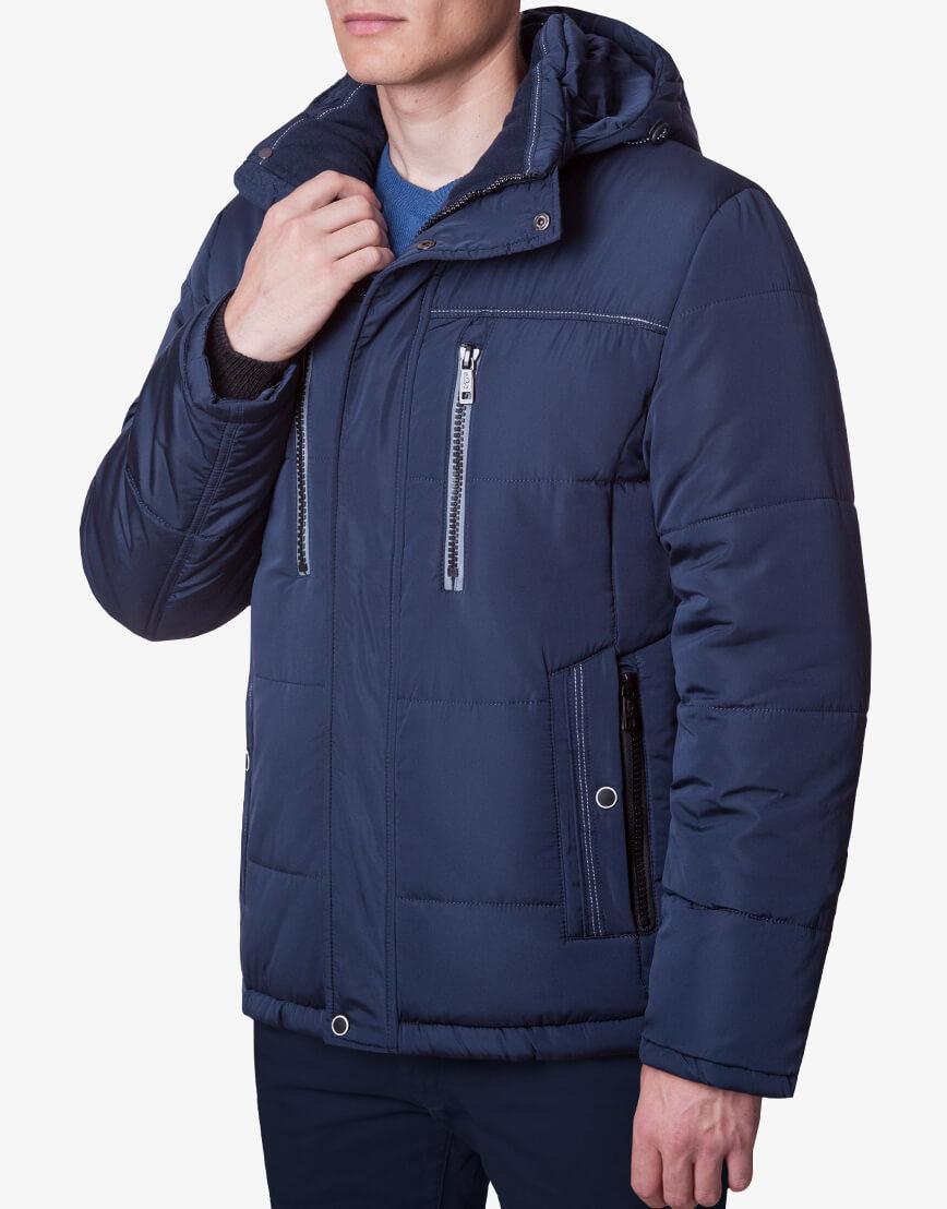Мужская модная темно-синяя куртка модель 1902-1 фото 2