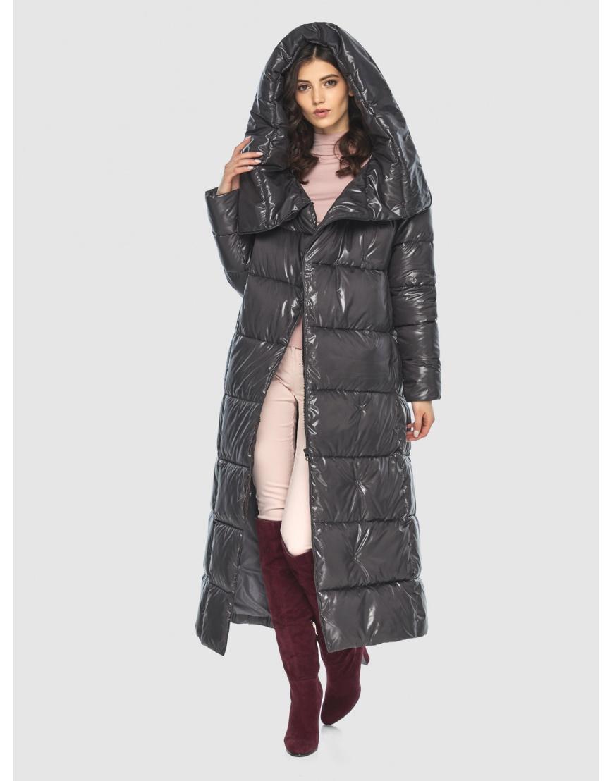 Серая трендовая женская куртка подростковая Vivacana зимняя 8706/21 фото 6