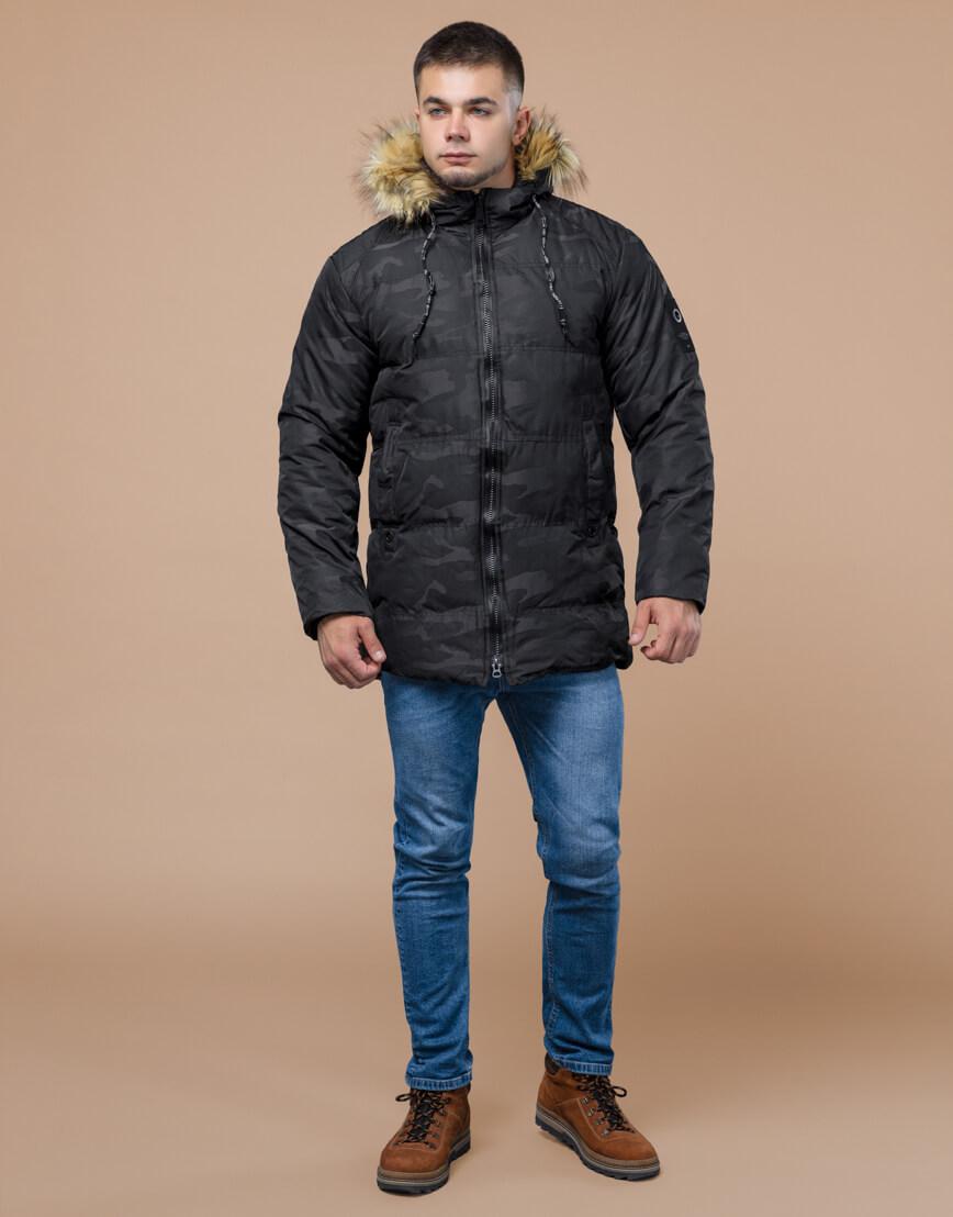 Зимняя куртка дизайнерская фирменная черная модель 25350 фото 2