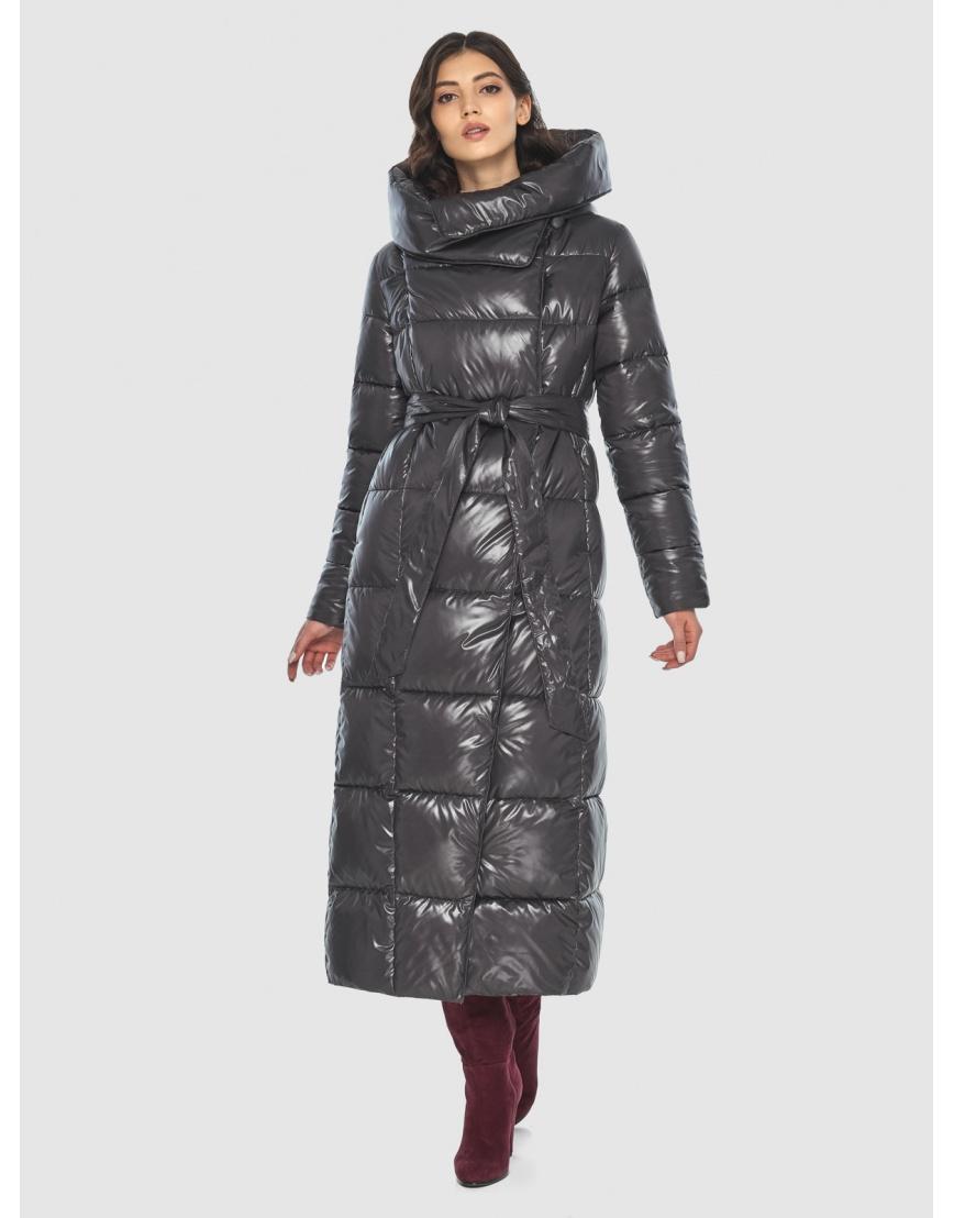Серая трендовая женская куртка подростковая Vivacana зимняя 8706/21 фото 3