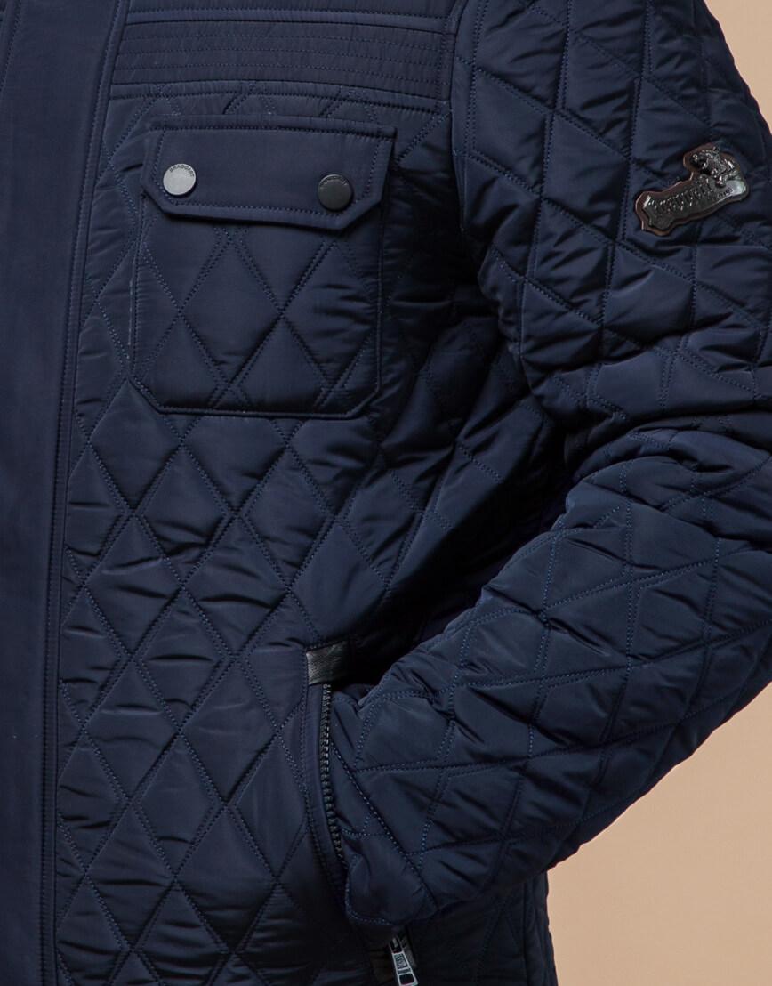 Качественная куртка синего цвета модель 1698 фото 4