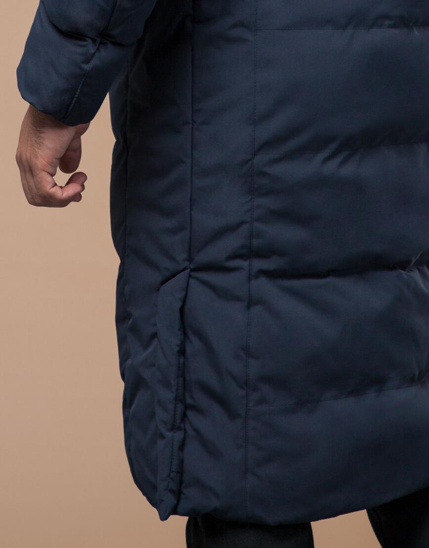 Темно-синяя куртка зимняя длинная модель 25360 фото 6