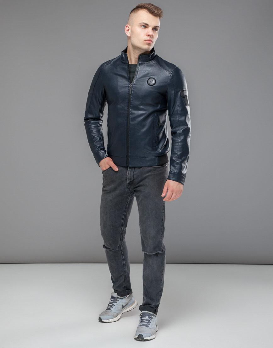 Осенне-весенняя темно-синяя куртка комфортная модель 43663 оптом фото 3