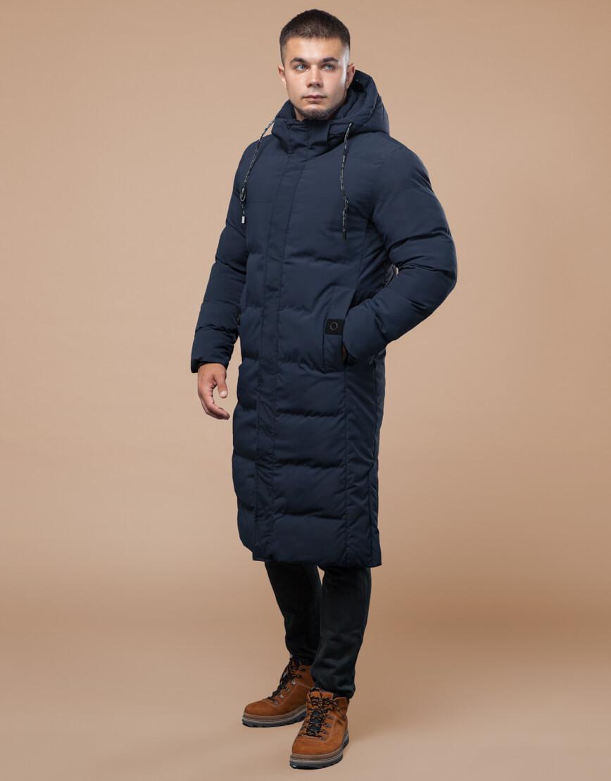 Темно-синяя куртка зимняя длинная модель 25360 фото 2