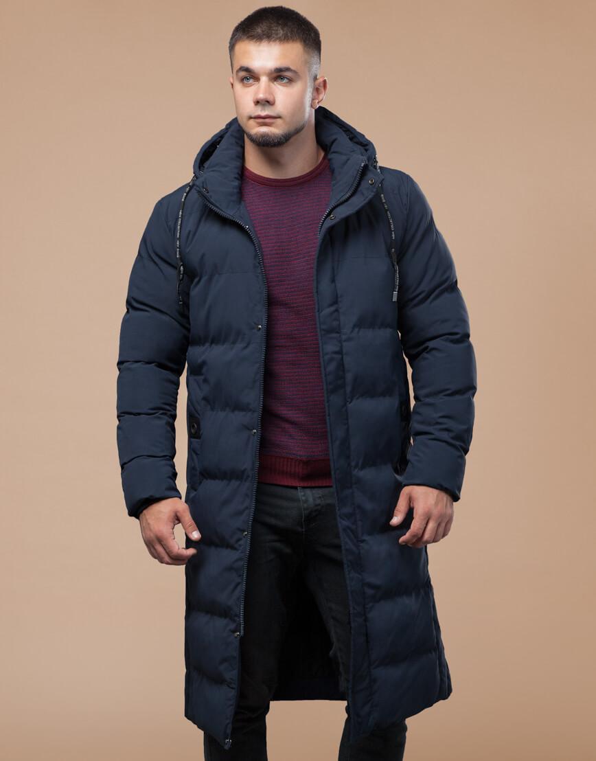 Темно-синяя куртка зимняя длинная модель 25360 фото 3