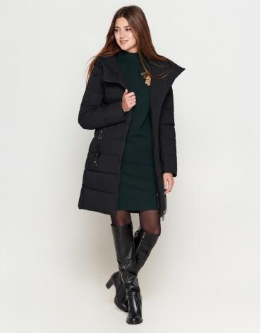 Женская молодежная черная куртка в стиле кэжуал модель 25325