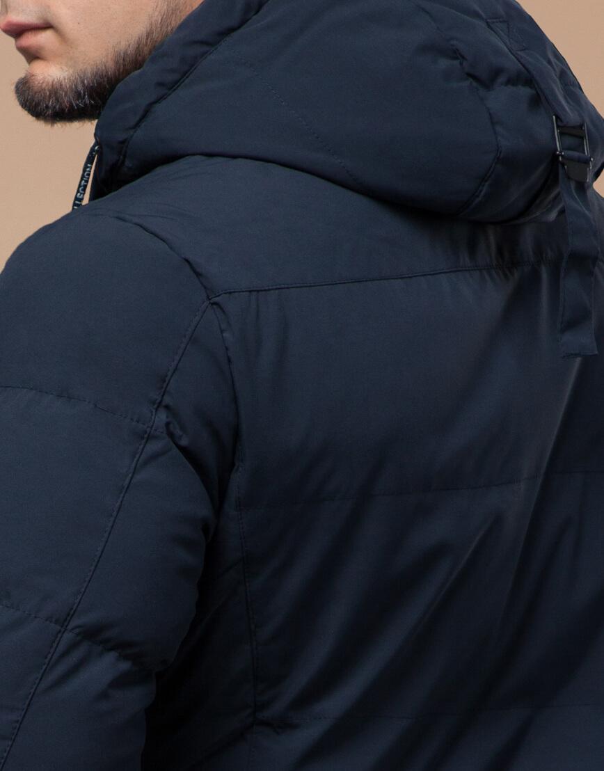 Темно-синяя куртка зимняя длинная модель 25360 фото 7