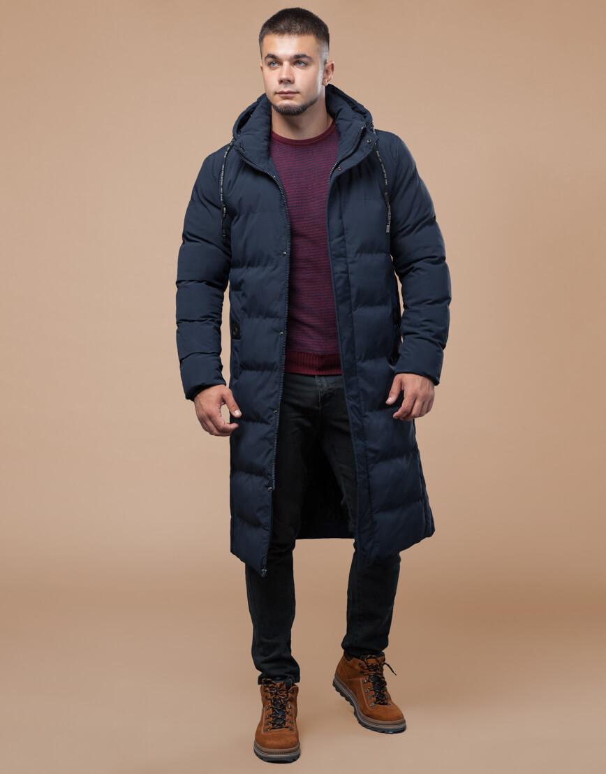 Темно-синяя куртка зимняя длинная модель 25360 фото 1
