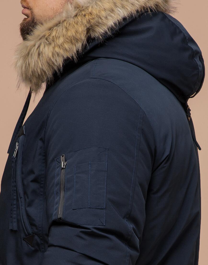 Синяя мужская зимняя парка модель 13475 оптом фото 6