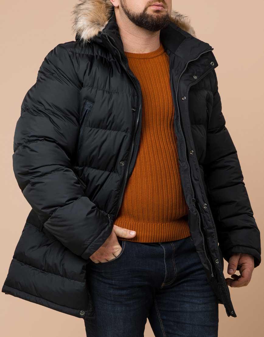 Удобная графитовая куртка большого размера с капюшоном модель 37762 фото 2