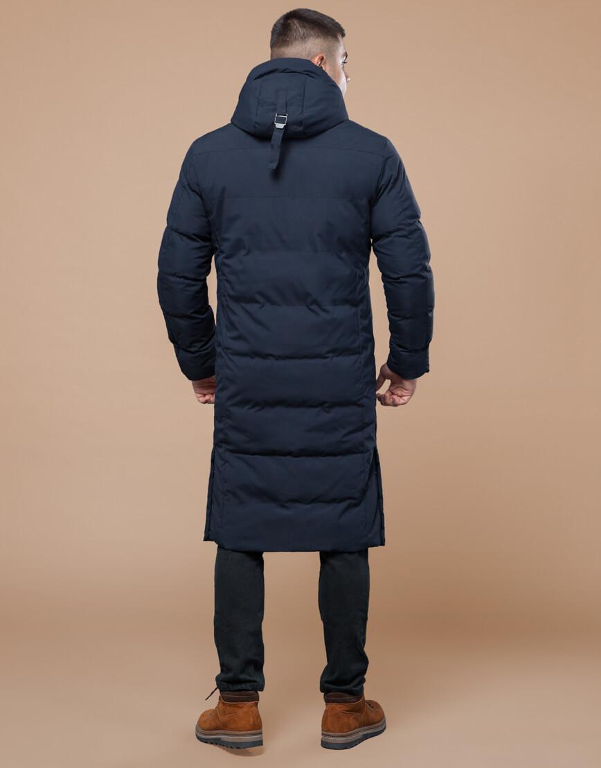 Темно-синяя куртка зимняя длинная модель 25360 фото 4