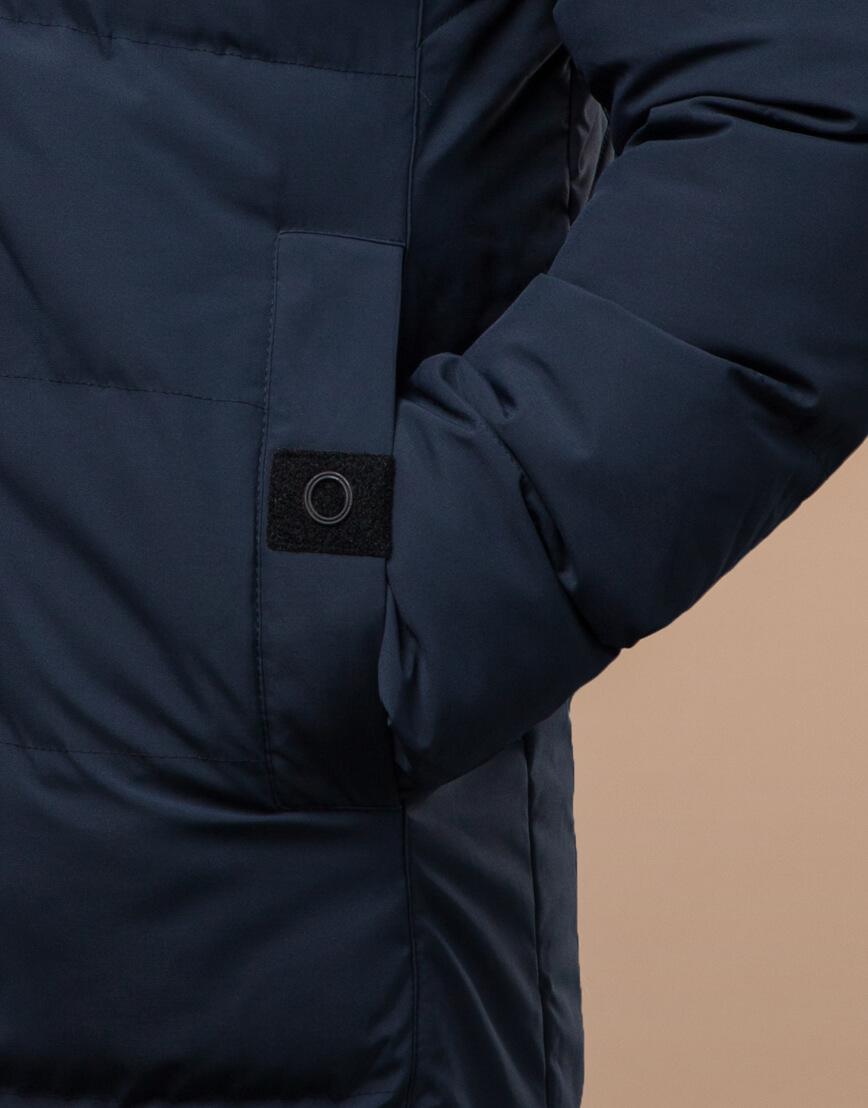 Темно-синяя куртка зимняя длинная модель 25360 фото 5