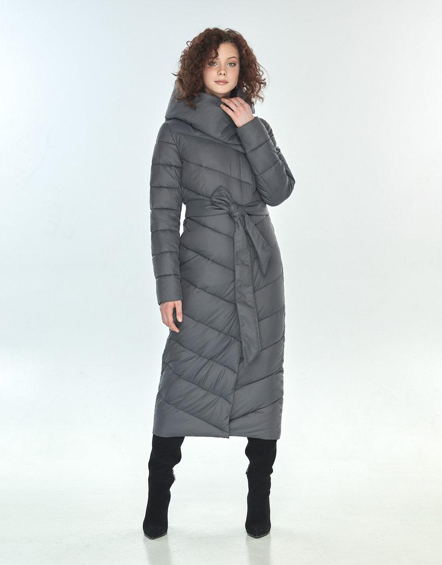 Длинная куртка Moc серая брендовая женская M6471 фото 2