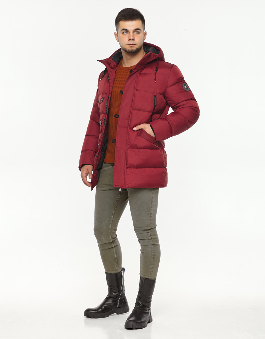 Зимняя красная куртка мужская модель 37485 оптом фото 2