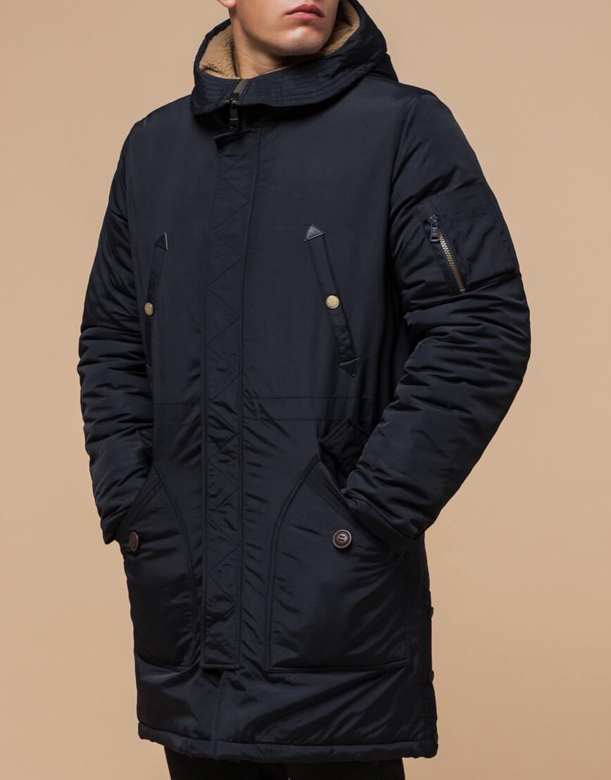 Черно-синяя зимняя парка стильного дизайна модель 90520 фото 1