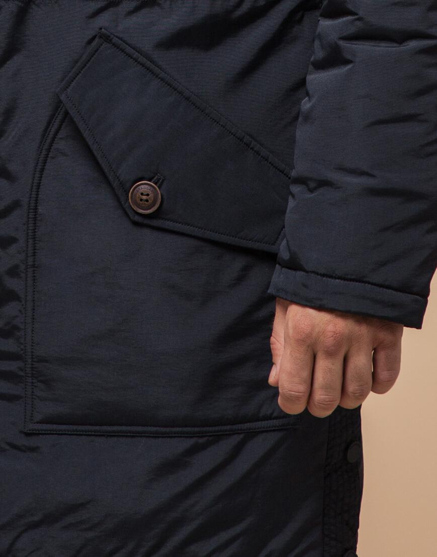 Черно-синяя зимняя парка стильного дизайна модель 90520 фото 5